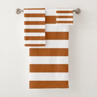 Orange and White Stripes Bath Towel Set