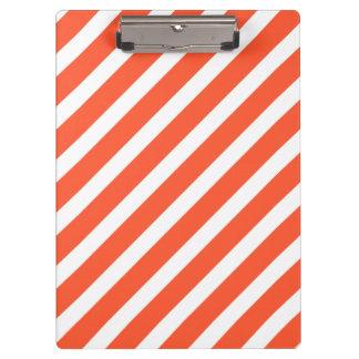 Orange and White Stripes Retro Pattern Clipboard