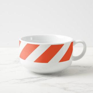 Orange and White Stripes Retro Pattern Soup Mug