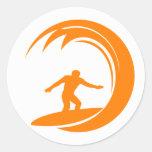 Orange and White Surfing Classic Round Sticker