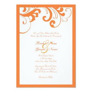 Orange and White Swirls Frame Wedding Invitation