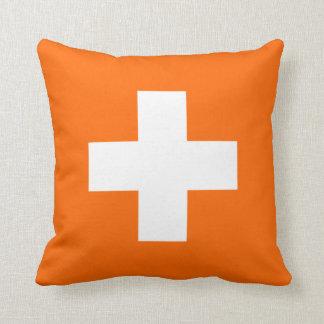Orange and White Swiss Cross Throw Pillow