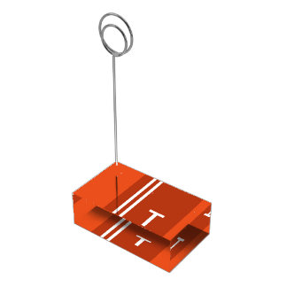 Orange and White Table Card Holder-T Table Card Holder
