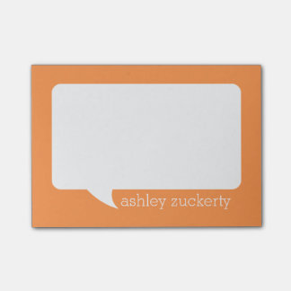 Orange and White Talk Bubble Personalized Name Post-it® Notes