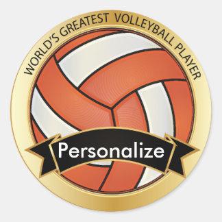 Orange and White Volleyball Round Stickers