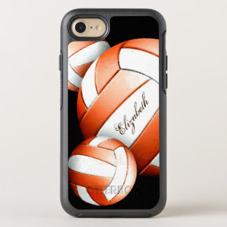 Orange and white volleyballs women's OtterBox symmetry iPhone 8/7 case