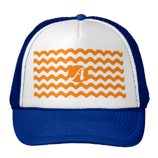 Orange and White Waves Monogram Trucker Hat