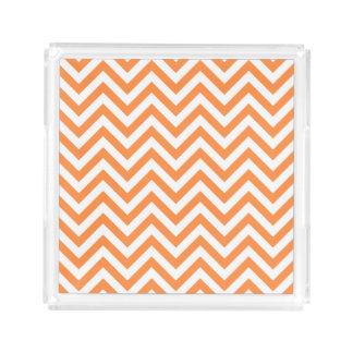 Orange and White Zigzag Stripes Chevron Pattern Acrylic Tray