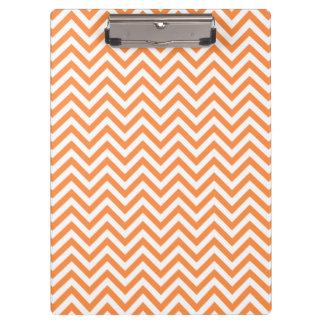 Orange and White Zigzag Stripes Chevron Pattern Clipboard
