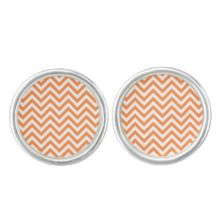 Orange and White Zigzag Stripes Chevron Pattern Cufflinks