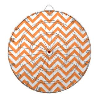 Orange and White Zigzag Stripes Chevron Pattern Dartboard