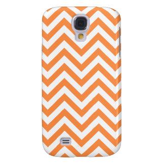 Orange and White Zigzag Stripes Chevron Pattern Galaxy S4 Case