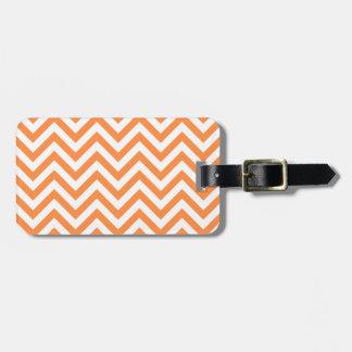 Orange and White Zigzag Stripes Chevron Pattern Luggage Tag
