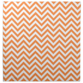 Orange and White Zigzag Stripes Chevron Pattern Napkin