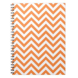 Orange and White Zigzag Stripes Chevron Pattern Notebooks