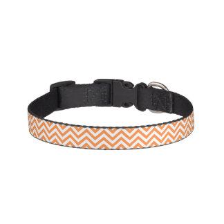 Orange and White Zigzag Stripes Chevron Pattern Pet Collar