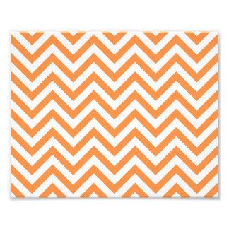 Orange and White Zigzag Stripes Chevron Pattern Photo Print