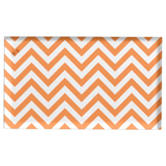 Orange and White Zigzag Stripes Chevron Pattern Place Card Holder