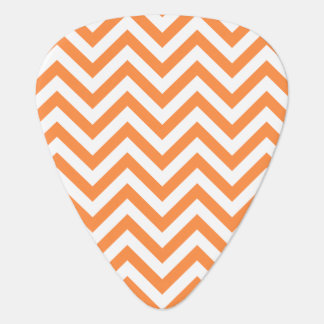 Orange and White Zigzag Stripes Chevron Pattern Plectrum