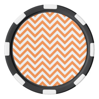 Orange and White Zigzag Stripes Chevron Pattern Poker Chips