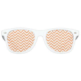 Orange and White Zigzag Stripes Chevron Pattern Retro Sunglasses
