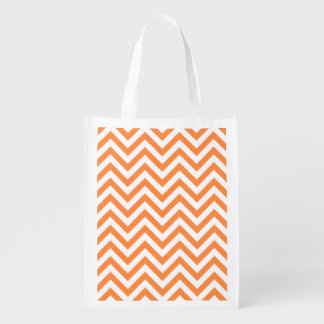 Orange and White Zigzag Stripes Chevron Pattern Reusable Grocery Bag