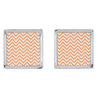 Orange and White Zigzag Stripes Chevron Pattern Silver Finish Cufflinks