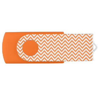 Orange and White Zigzag Stripes Chevron Pattern USB Flash Drive