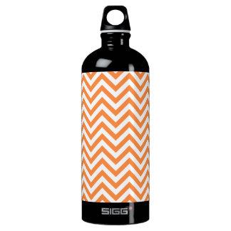 Orange and White Zigzag Stripes Chevron Pattern Water Bottle