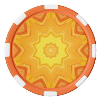 Orange and Yellow Abstract Kaleidoscope Poker Chips