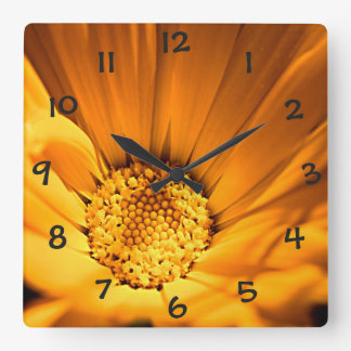 Orange and Yellow Daisy Square Wall Clock