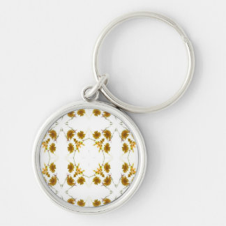 orange and yellow fall colored wildflowers 16 up Silver-Colored round key ring