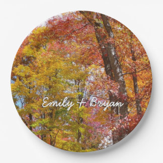Orange and Yellow Fall Trees Autumn Photography Paper Plate