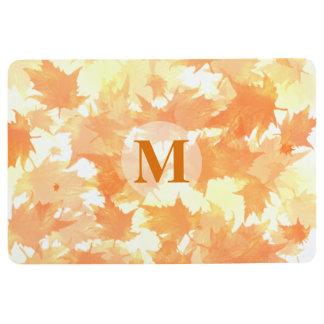 Orange and Yellow Falling Leaves Pattern Monogram Floor Mat