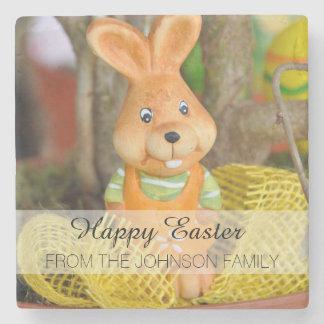 Orange and Yellow Family Happy Easter Bunny Rabbit Stone Beverage Coaster