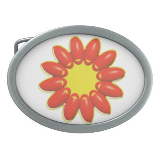 Orange and Yellow Flower Graphic Belt Buckles