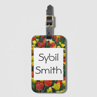 Orange and Yellow garden Tulips Luggage Tag
