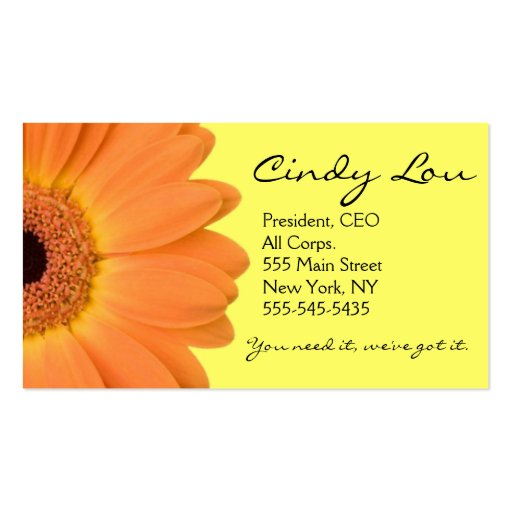 Orange and Yellow Gerber Daisy Business Cards