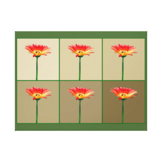 Orange and Yellow Gerbera Daisy Mosaic Gallery Wrap Canvas