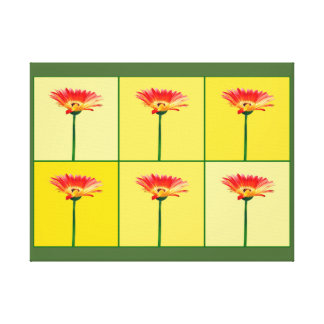 Orange and Yellow Gerbera Daisy Mosaic Gallery Wrapped Canvas