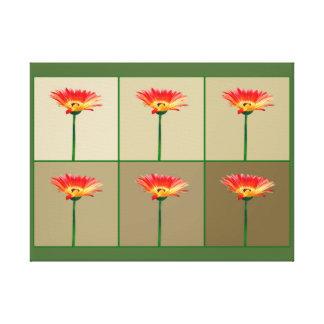 Orange and Yellow Gerbera Daisy Mosaic Gallery Wrap Canvas