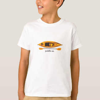 Orange and yellow Kayak with Paddle On T-Shirt