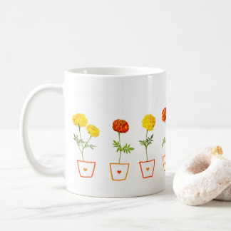 Orange and Yellow Marigolds Flowers Coffee Mug