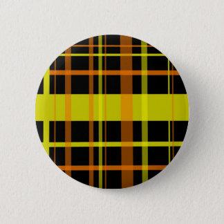 Orange and Yellow Plaid 6 Cm Round Badge