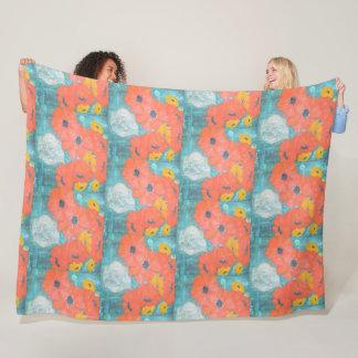 Orange and Yellow Poppies Fleece Blanket
