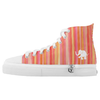 Orange and yellow stripes with white elephant high tops