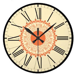 "Orange and Yellow, ""Sunflower"" Geometric Design Large Clock"