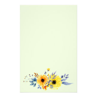 Orange and Yellow Watercolor Flowers Stationery