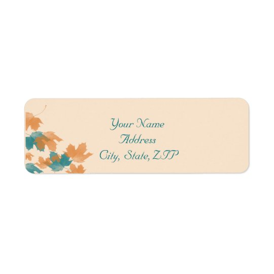 Orange Aqua Autumn Maple Leaf Return Address Return Address Label