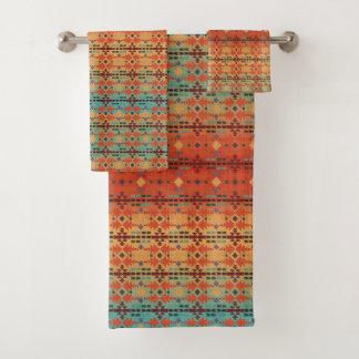 Orange, Aqua Ombre | Southwestern Style Bath Towel Set